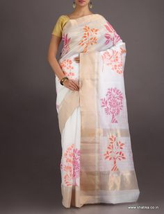 Sachi Colourful Bloom On Canvas #ChanderiBlockPrintedSaree