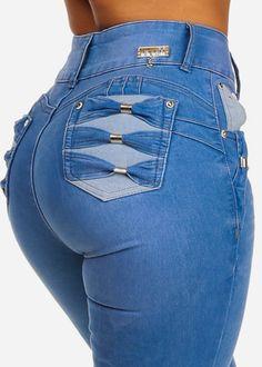 & Imbracaminte Femei CheapChic Ultra High Waist Denim Light Blue Butt Lifting Back Design 2 Buttons Slim Fit Skinny Jeans Multicolor Grey Ripped Jeans, Jeans Denim, Sexy Jeans, Skinny Jeans, Hollister Jeans, Jean Parfait, Best Jeans For Women, Estilo Jeans, Jeans Store