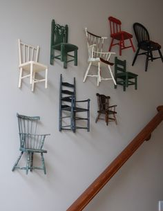 Life with the Little R's: Take a Seat... miniature chairs going up the staircase