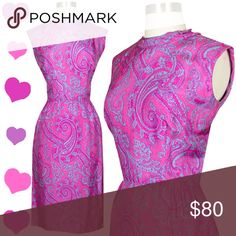 b99a34dadba6 Vintage 50s 60s Pink Paisley Party Dress XS S   Sleeveless bodice