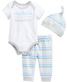 First Impressions Baby Boys' 3-Piece Handsome Bodysuit, Stripe Pants & Hat Set, Only at Macy' s
