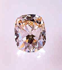 """Star of the South:128-carat """"rose tint"""" brilliant. Brazil, eighteenth century. Found by a slave who was given her freedom. Owned by the Gae..."""