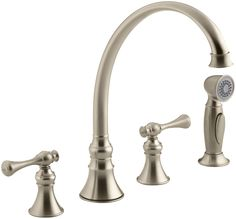 """Revival 4-Hole Kitchen Sink Faucet with 9-3/16"""" Spout, Matching Finish Sidespray and Traditional Lever Handles"""
