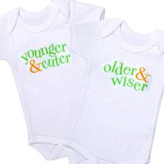 Twin+Onesies+Set++Older/Wiser+Younger/Cuter+by+JustMultiplescom,+$26.95
