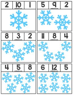 Clip cards featuring snowflakes to help teach numbers Super easy prep, 12 cards total! Preschool Lessons, Kindergarten Activities, Learning Activities, Preschool Activities, Kids Learning, Winter Activities For Kids, Preschool Winter, Winter Theme, Snowflakes