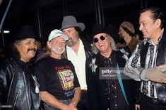 AID Photo of Willie NELSON and Freddy FENDER and Augie MYERS and Doug SAHM and Flaco JIMENEZ, L-R Freddy Fender,Willie Nelson, Augie Myers, Doug Sahm and Flaco Jimenez backstage at Farm Aid