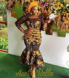 53 Edition of EsB TV – Shop From These New Aso ebi Lace style & African Print Trend Diyanu - Aso Ebi Styles African Lace Dresses, African Dresses For Women, African Attire, African Wear, African Women, African Clothes, African Style, Aso Ebi Lace Styles, Lace Gown Styles