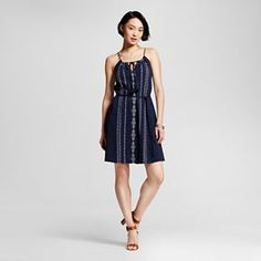 Women's A Line Halter Dress with Embroidery - Merona™