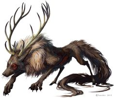 Xelizel by Tatchit deer fox wolf hybrid antlers monster beast creature animal | Create your own roleplaying game material w/ RPG Bard: www.rpgbard.com | Writing inspiration for Dungeons and Dragons DND D&D Pathfinder PFRPG Warhammer 40k Star Wars Shadowrun Call of Cthulhu Lord of the Rings LoTR + d20 fantasy science fiction scifi horror design | Not Trusty Sword art: click artwork for source