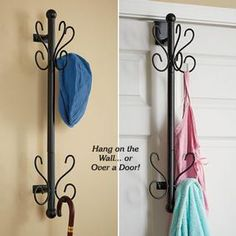 Coat Rack @ Fresh Finds takes up zero floor space! Smartly designed rack cuts the clutter and keeps your entryway clear and neat by utilizing undiscovered real estate right on the back of your door! Can also be wall mounted with the included hardware. Has 10 hooks to hold coats, scarves, hats, handbags and more.