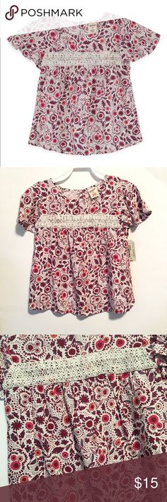 Toddler Girls Arizona Round Neck Blouse Size: 5T  Color: Snowdrift (white, pink, burgundy, & Blue)  Condition: New with tags Sleeve Length: Short Sleeve Neckline: Round Neck Fabric Description: Jersey Fabric Content: 100% Rayon Arizona Jean Company Shirts & Tops Blouses