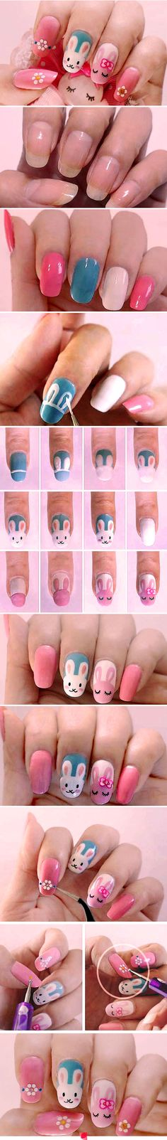 MendaBeauty wants to see everyone with cute nails this spring! Try this easy step-by-step DIY nail art tutorial featuring bunny rabbits. Perfect for upcoming Easter or an adorable base design for baby-shower bunnies. Happy ManiMonday!
