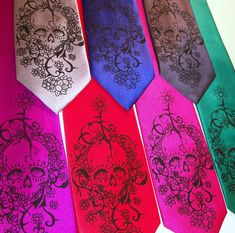 Mens necktie - Floral Skull tie, Day of The Dead on Etsy, $24.20
