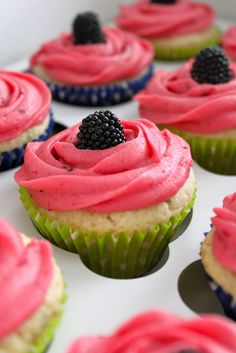 Key Lime Cupcakes with Blackberry Filling and Blackberry Frosting... Looks fun and summery.