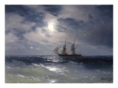 Sailing ship in the moonlight on a calm sea, 1874 Giclee Print by Ivan Konstantinovich Aivazovsky at AllPosters.com