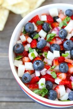 Fresh blueberries, strawberries, and jicama give this fruity dip its festive colors.    Get the recipe at Two Peas & Their Pod.