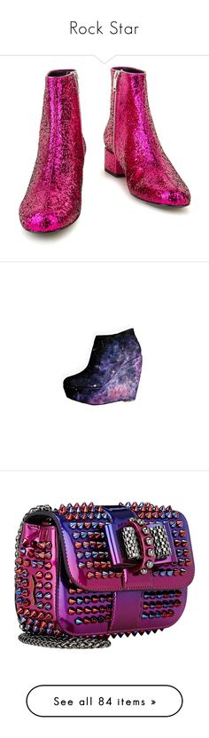 """""""Rock Star"""" by summersurf2014 ❤ liked on Polyvore featuring shoes, boots, ankle booties, leather sole boots, shiny leather boots, leather booties, leather bootie, mid heel ankle boots, heels and wedges"""