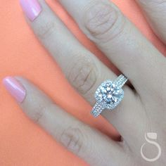 Beautiful Cushion Diamond Halo Engagement ring with a diamond band from Sylvie Collections (Style S1544)