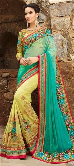 180749, Bridal Wedding Sarees, Net, Faux Georgette, Stone, Patch, Zari, Lace, Machine Embroidery, Resham, Green, Yellow Color Family