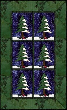 Pine Tree with Flare - perfect for a table runner. -- free paper piecing pattens