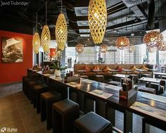 HINAKI -a pendant light based on fish traps- and CORAL -a light inspired by the coral of the sea- are the perfect pairs in this restaurant. Click image for where to buy!