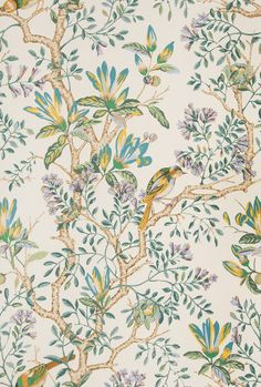 Love this mix of animal, floral and botanical print in Buchoz Floral Teal for The New York Botanical Garden Collection by Vervain! Chinoiserie Wallpaper, Fabric Wallpaper, Botanical Wallpaper, Botanical Prints, Saree Floral, Teal Fabric, Drapery Fabric, Traditional Design, Floral Embroidery