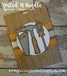 Julie Kettlewell - Stampin Up UK Independent Demonstrator - Order products Nailed It Pocket Card Masculine Birthday Cards, Birthday Cards For Men, Man Birthday, Masculine Cards, Cute Cards, Men's Cards, Fathers Day Crafts, Die Cut Cards, Pocket Cards