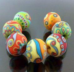 ~ Pikalda handmade lampwork beads by alyssa Polymer Clay Beads, Lampwork Beads, Handmade Beads, Handmade Jewelry, Lampworking, Murano, Paper Beads, How To Make Beads, Bead Art