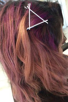 Sunset triangles #sunsethair #pinkhair #purplehair #coralhair #artandchemistry