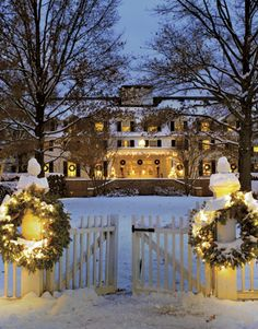 The Historic Woodstock Inn in Vermont at Christmas.  The town has an annual Wassail Weekend celebration in Woodstock, VT.