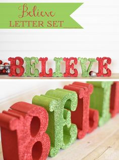 DIY Glittered Believe Letter Set