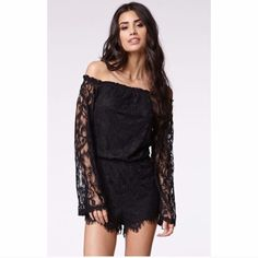 """Off The Shoulder Hippie Lace Romper S ✨ ✨✨✨✨Draped layers create a skirted look on this romper, crafted in a delicate mix of lace and chiffon. Hidden back zip. Sheer yoke and sleeves.  Fabric: Lace / chiffon. 100% polyester. Wash cold. Imported, China. Measurements Inseam: 1in / 2.5cm Measurements from size S Model Measurements Model is in size S Model is 5'10"""" / 177cm, bust 34 / 86cm, waist 24 / 60cm, hips 34 / 87cm ✨✨✨ Dresses"""