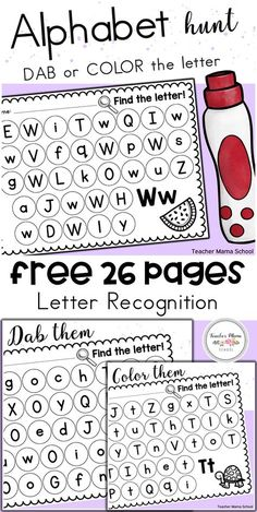 Students would have fun identifying letters in both the uppercase and lowercase with these FREE practice sheets! All 26 letters of the alphabet are included. Preschool Learning Activities, Kindergarten Literacy, Toddler Learning, Teaching Resources, Spanish Activities, Preschool Curriculum, Toddler Activities, Teaching Letters, Preschool Letters