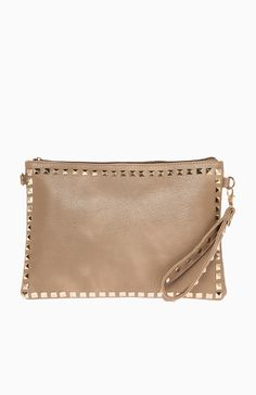 Taupe clutch with gold hardware from dailylook.com