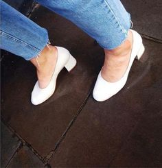 Wheretoget - White glove heels and blue jeans