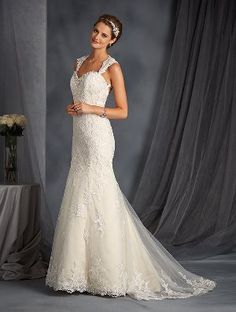 Tendance Robe du mariage Satin gown with sweetheart neckline and beaded lace embellishments I Style: 2545 Wedding Dresses Photos, Bridal Wedding Dresses, Wedding Dress Styles, Bridesmaid Dresses, Bridal Style, Ivory Wedding, Dress Prom, Formal Wedding, Wedding Attire