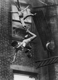 Woman and girl falling.