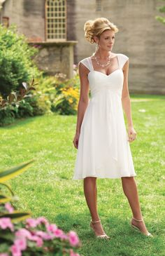 Straps Empire Waist Knee-length Wedding Dress, I'd wear cowgirl boots with it of course!