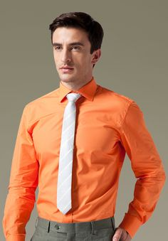 This orange cotton shirt gives off a unique, comfortable, and confident look.