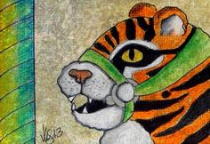 "Aceo Original ""CAROUSEL TIGER CUB"" pencil/ink on canvas paper ON EBAY"