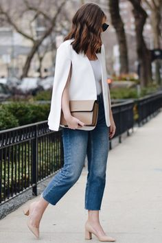 Best and Stylish Business Casual Work Outfit for Women ~ Casual Blazer, Casual Work Outfits, Work Casual, Cool Outfits, White Cape Blazer, White Blazer Outfits, White Blazers, Capes For Women, Clothes For Women