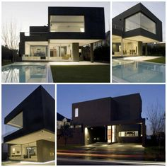 Casa Negra (the Black House) in Buenos Aires by Andres Remy Architects. - photo via ArchiEli fb page Black House Exterior, House Cladding, Steel Frame House, Home Interior Design, Modern Architecture, Luxury Homes, My House, Beach House, House Design