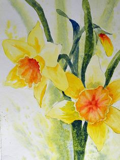 Art, Fine Art-Watercolor Painting of Yellow Daffodil Flowers Watercolor Flowers, Watercolor Paintings, Daffodils, Daffodil Flowers, Bulb Flowers, Aquarell Tattoo, Small Flower Tattoos, Watercolor Projects, Yellow Painting