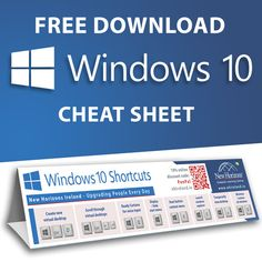 Free download Windows 10 keyboard short cut  cheat sheet,   >>>   ALT-F4-Enter to shutdown computer
