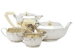 Sterling Silver Four Piece Tea & Coffee Service - Art Deco Style - Antique George VI  SKU: A3751 Price: GBP £3,250.00  http://www.acsilver.co.uk/shop/pc/Sterling-Silver-Four-Piece-Tea-Coffee-Service-Art-Deco-Style-Antique-George-VI-50p3365.htm