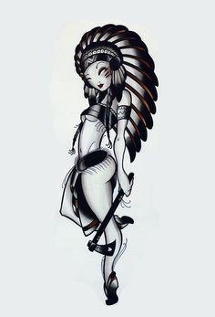 Resultado de imagem para tattoo art by dave koenig Pin Up Girl Tattoo, Pin Up Tattoos, Pretty Tattoos, Big Girl Problems, Indian Girl Tattoos, Jeff Gogue, Tattoo Flash Art, Tattoo Art, Native American Pictures