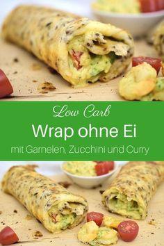 Low Carb Wrap ohne Ei. Ein gesundes Rezept low carb mit Garnelen, Zucchini und Curry. Low Carb Wrap Teig ist einfach und schnell zubereitet. Die gesunde Füllung kannst du je nach Kühlschrankinhalt beliebig austauschen. Lass dir dein Low Carb Rezept für unterwegs schmecken. #lachfoodies #lowcarbrezept #lowcarbunterwegs