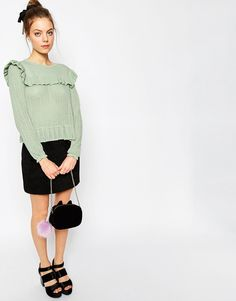 Image 4 of ASOS Sweater with Ruffle Detail