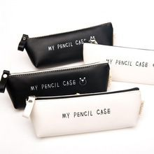 2016 New Triangle My Pencil Case Classical Black And White Color Waterproof PU Leather Storage Cosmetic Bag 0822(China (Mainland))