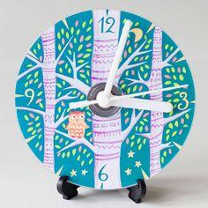 owl compact disc clock by emma randall illustration   notonthehighstreet.com
